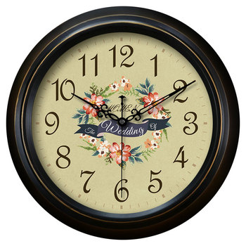 diameter 40cm American wall clock living room pastoral European creative bedroom clock mute watch