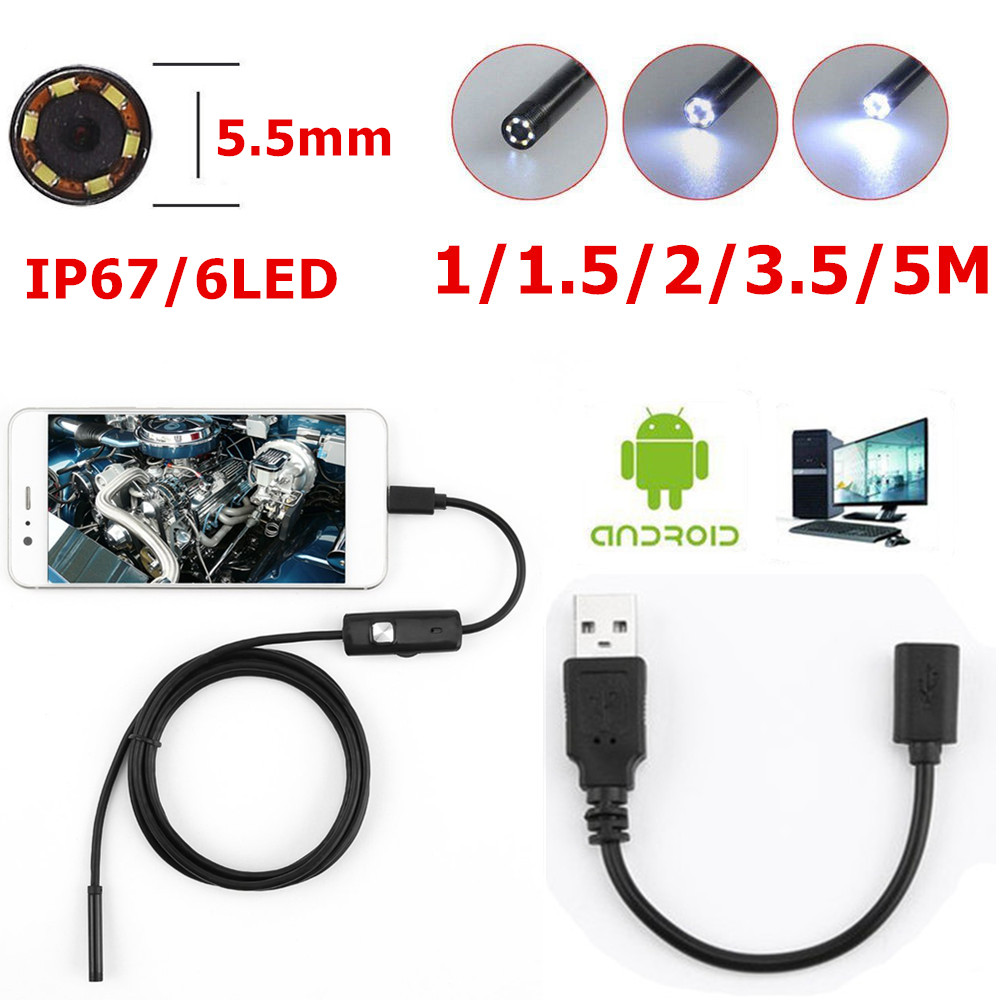 6 LED 5.5mm Lens Endoscope Waterproof Inspection Borescope For Android Focus Camera Lens USB Cable Waterproof Endoscope