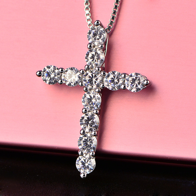 With Certificate 11pcs Lab Diamond Cross Pendant Necklace 925 Sterling Silver Choker Statement Necklace Women Silver 925 Jewelry 3