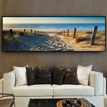 Sunset Beach Oil Painting Art Poster Living Room Study Home Decoration Poster Print Canvas Picture Frameless Oil Painting
