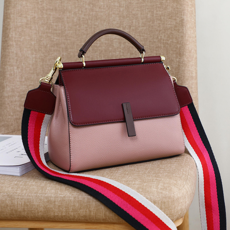 Luxury Handbags Women Bags Designer Genuine Leather Ladies Wide Strap Shoulder Bags Fashion Female Crossbody Bags Bolso Mujer