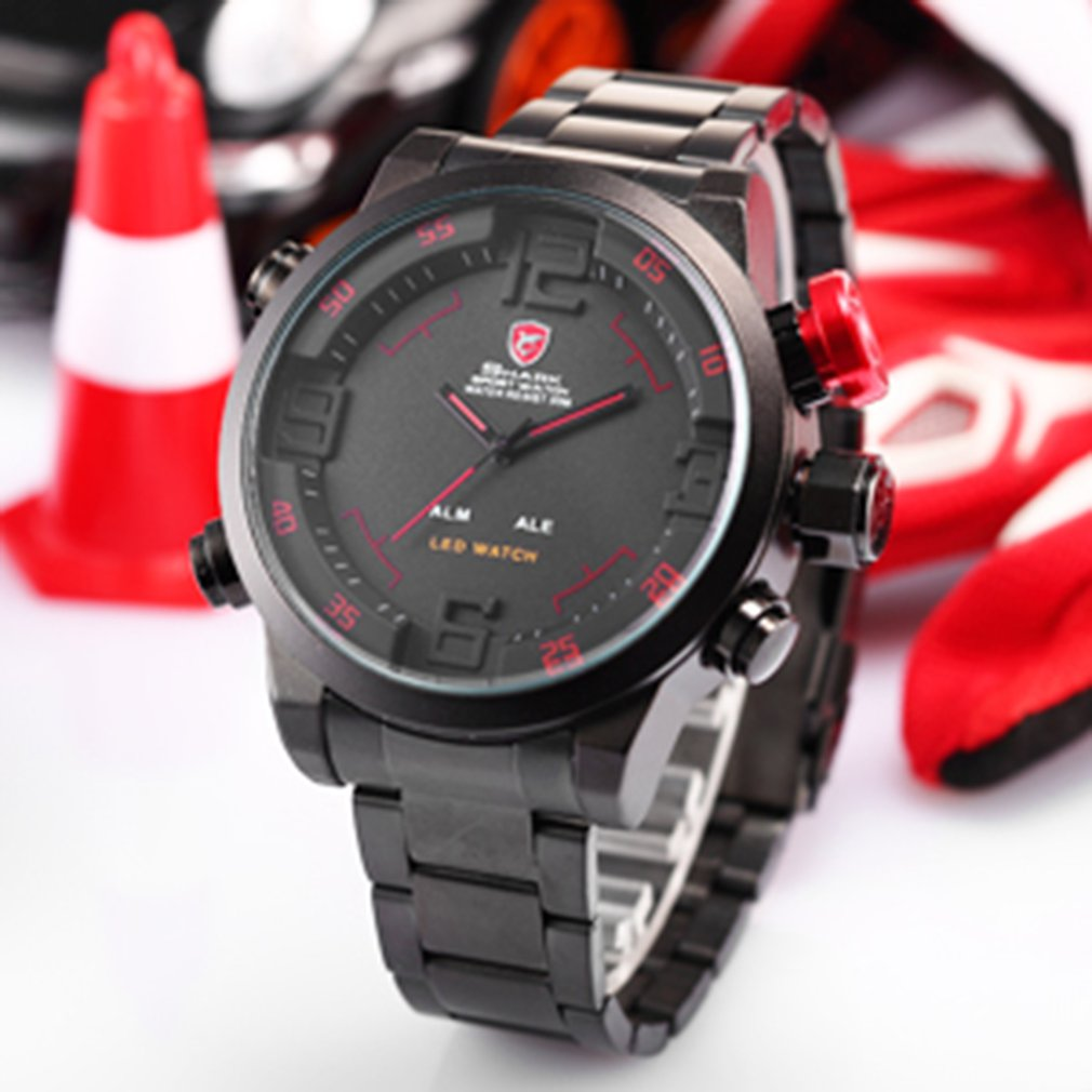 Gulper SHARK Sport Watch Brand Men Black Luxury Full Steel Band Digital Calendar Wristwatches Quartz Relogio Masculino SH103 Hot