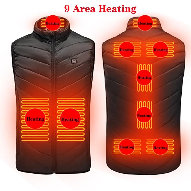 9-kohaline soojendusega vest meeste naiste USB-soojendusega jakk - Telkimine ja matkamine