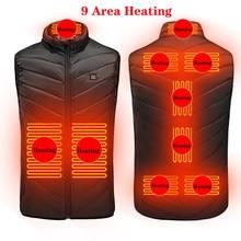 Novo 9 lugares aquecido colete masculino feminino usb aquecido jaqueta de aquecimento colete térmico roupas caça colete inverno jaqueta de aquecimento BlackS-6XL