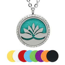 BOFEE Lotus Essential Oil Locket Necklace Aromatherapy Diffuser Pendant Jewelry 361L Stainless Steel Crystal 30MM
