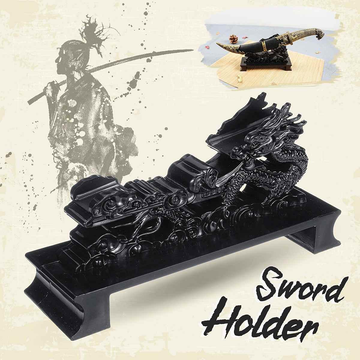 Samurai Sword Holder Katana Wakizashi Katana Holder Stand Wall Mount Display Dragon Figure Hanger Bracket Rack Home Decoration