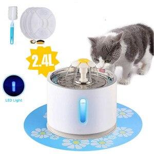 Fonte do gato do animal de estimação 2.4l beber janela led automático cão gato água potável tigela usb pet dispensador com 3 filtros da caixa