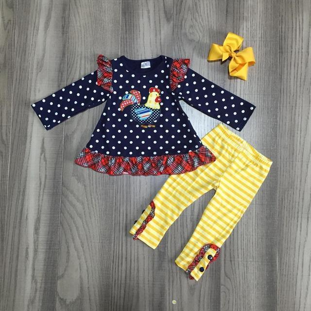 Ropa de bebé niñas otoño/invierno trajes Gallo top con pantalones de rayas amarillas bebé niñas boutique trajes con arco