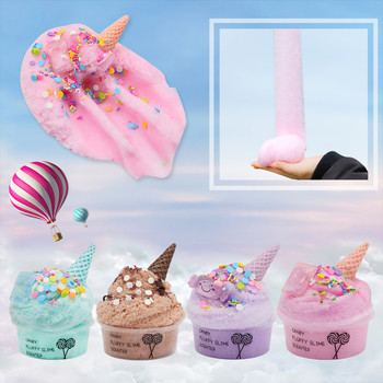 35g macaron color fluffy slime toys diy squishy kids toy with box polymer light soft clay modeling clay plasticine cloud slime 60ml Cotton Candy Cloud Ice Creamcone Slime DIY Polymer  Fluffy  Modeling Clay Light Plasticine Antistress Toys For Children
