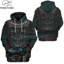 PLstar Cosmos Viking Warrior Tattoo Pullover Tracksuit casual 3D Print Zipper/Hoodie/Sweatshirt/Jacket/Men's Women style-77