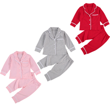 0-5Y Autumn Winter Girls Boys Pajama Sets Casual Solid Long Sleeve Single Breasted Tops Long Pants
