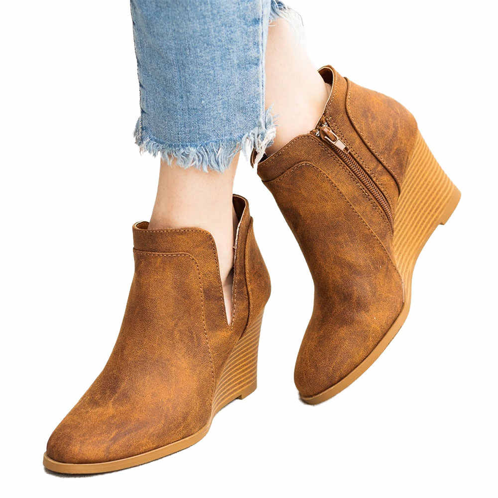 WENYUJH ฤดูหนาวรองเท้าผู้หญิงรองเท้ารองเท้าส้นสูง 2019 สบาย V เปิดการออกแบบลูกไม้ข้อเท้ารองเท้าผู้หญิงฤดูใบไม้ร่วงสั้นรองเท้าผู้หญิง