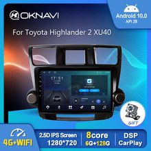 Android 10,0 Radio de coche para Toyota Highlander 2 XU40 2007-2013 GPS Multimedia estéreo Auto reproductor Carplay 6G 128G DSP No 2din DVD