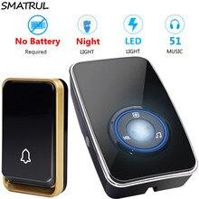 Wireless Doorbell SMATRUL 1-Button Home Night-Light-Sensor No-Battery Self-Powered 2-Receiver