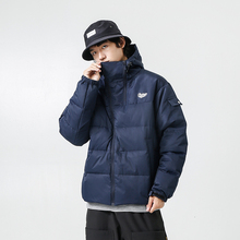 YUECHEN Autumn And Winter Mens New Double Zipper Solid Color Hooded Thickening Closed Sleeve Cotton-padded Clothes Polyester