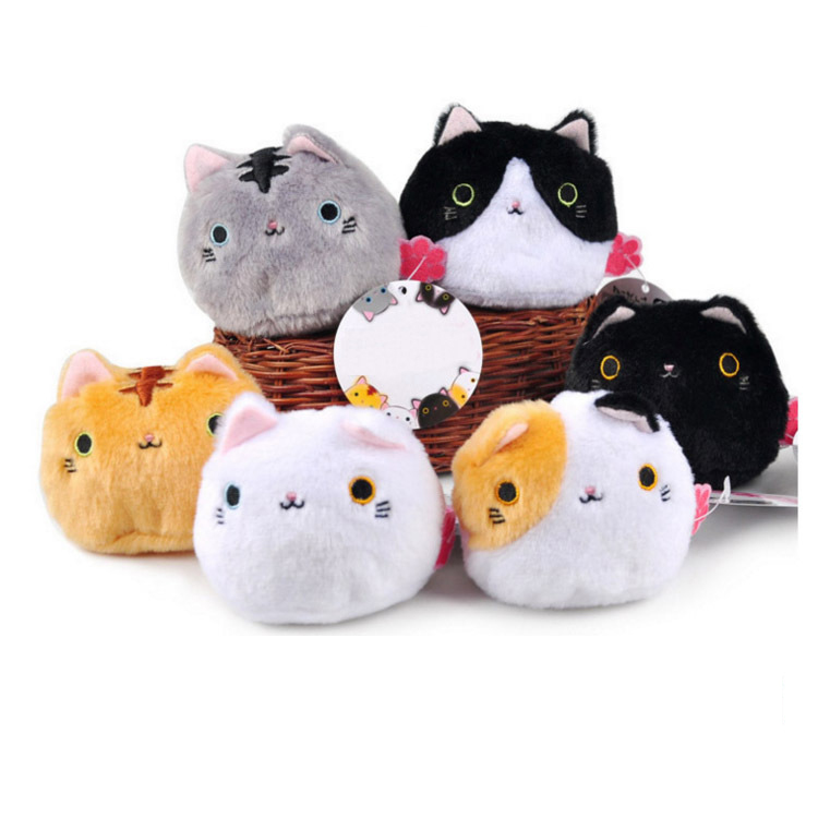 6Colors , New CAT Plush Doll Toys , Stuffed Doll Little Key Chain Plush Toys Sucker Car & Room & Window Pendant Bouquet TOY DOLL