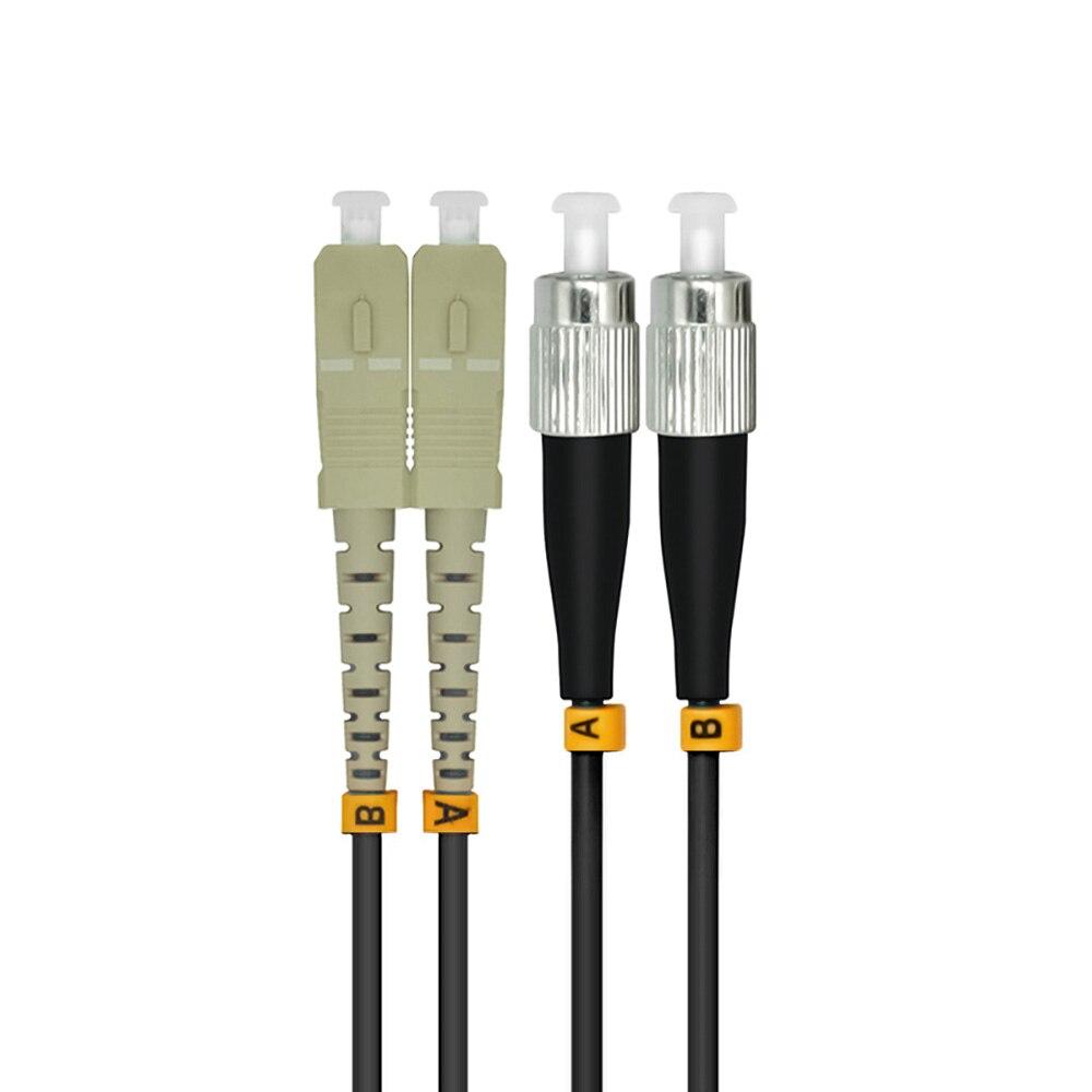 Outdoor Armored 5Meters SC-FC Duplex 10 Gigabit 50/125 Multimode Fiber Optical Cable OM3 Black 10GB SC To FC Patch Cord Jumper