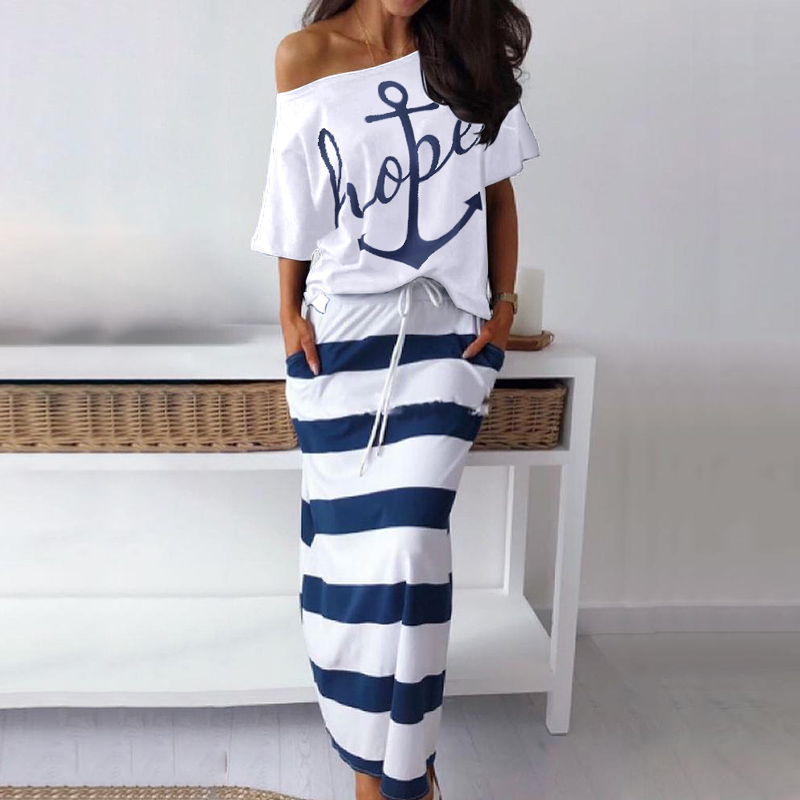 conjunto vestido esperança barco âncora imprimir topo
