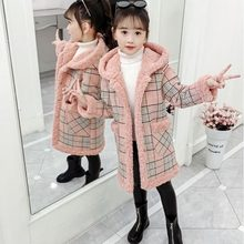 8 Meisjes Jas Herfst En Winter Stijl Kinderkleding Verdikking Plus Fluwelen Plaid Wollen Jas Medium Lange Fashion Kinderen 'S(China)