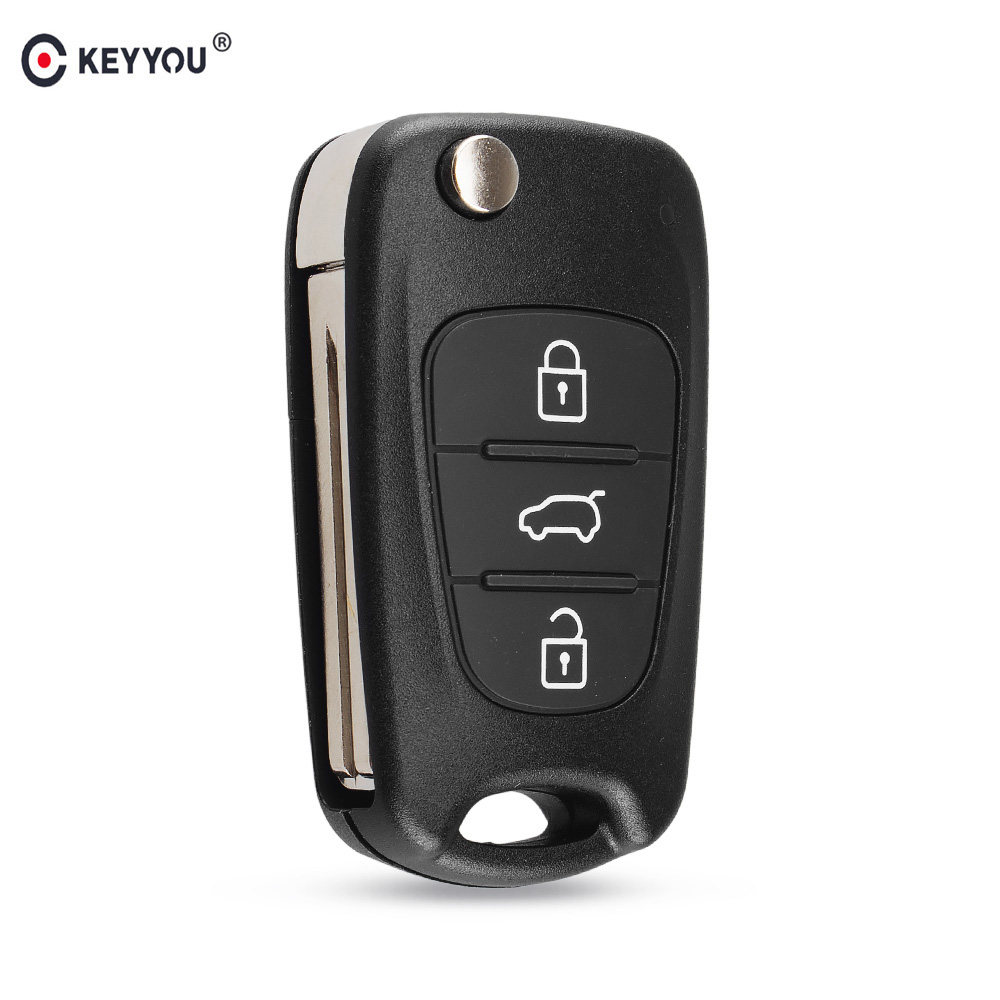 KEYYOU 3 Button Flip Remote Auto Car Key Shell For Hyundai I20 I30 IX35 I35 Accent Solaris Elantra Santa FeFor Kia CeratoCeed