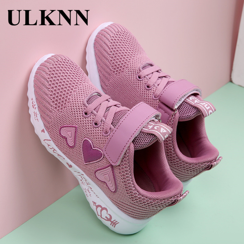 ULKNN Girls' Shoes Mesh Sneakers Punched Sheet Surface Fashion-Style GIRL'S Shoes Versatile Kindergarten Princess