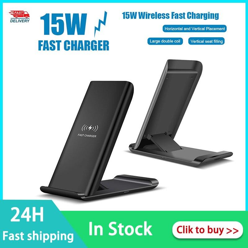 Ultra-dünne 15W Drahtlose Ladegerät Qi Drahtlose Ladestation Quick Charge Dock Für Samsung Galaxy S20 Huawei P40 pro Schnelle Lade