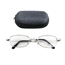 Portable Folding Reading Glasses Oval Metal Frame Presbyopic Magnifying Eyewear with Case
