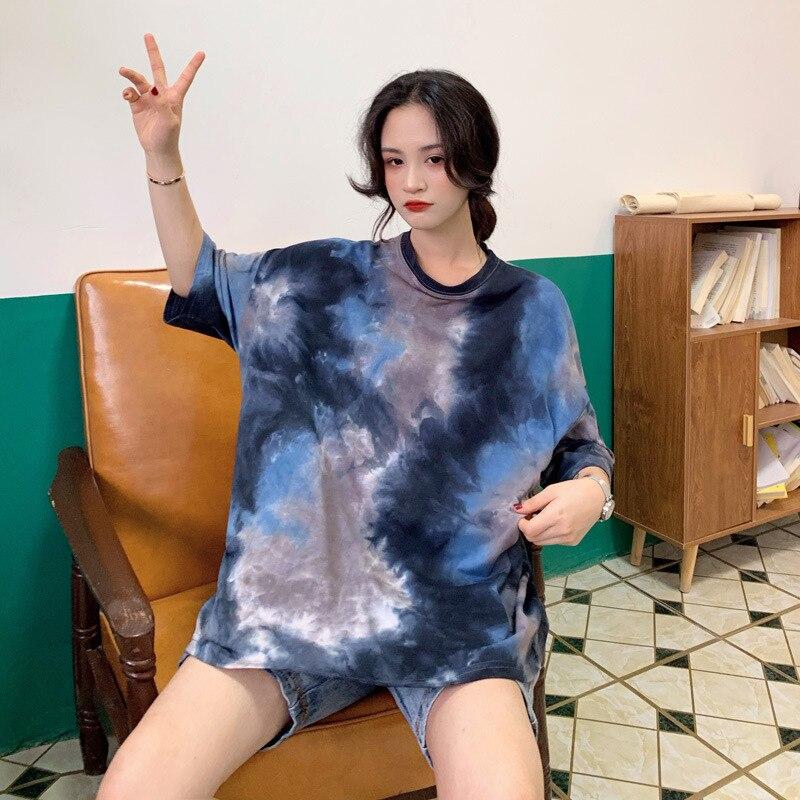 2020Summer Korean Version Loose Long Tie-Dye Short-Sleeved T-shirt Skirt Tops Polyester Casual Letter O-Neck Aesthetic
