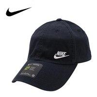 Nike Original Heritage Running Cap Breathable Peaked Golf Cap Outdoor Sport Sunshade Hat Black White