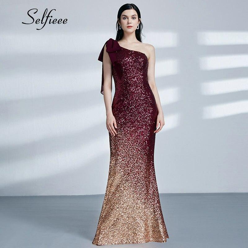 Bourgogne or Sequin robe 2019 nouvelle mode Sexy petite sirène une épaule longue formelle robes de soirée dames moulante robes