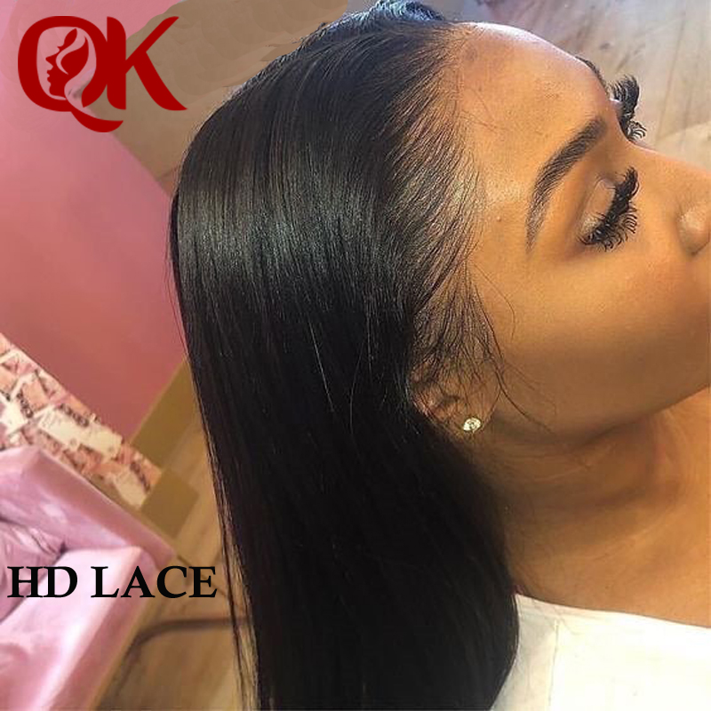 QueenKing Hair Invisiable Transparent 13x6 Super Fine HD Lace Frontal Wigs Brazilian Straight Black Lace Front Human Hair Wigs