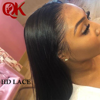 QueenKing Hair Invisiable Transparent 13x6Lace Frontal Wigs Brazilian Straight Black Lace Front Human Hair Wigs Remy HD Lace Wig