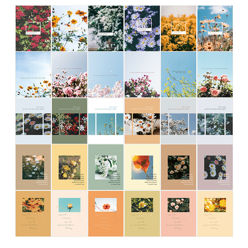 30 Sheets/Set Flower Travel Scenery Paper Postcard Greeting Card Birthday Letter Card Gift Card Message Card Stationery Gift