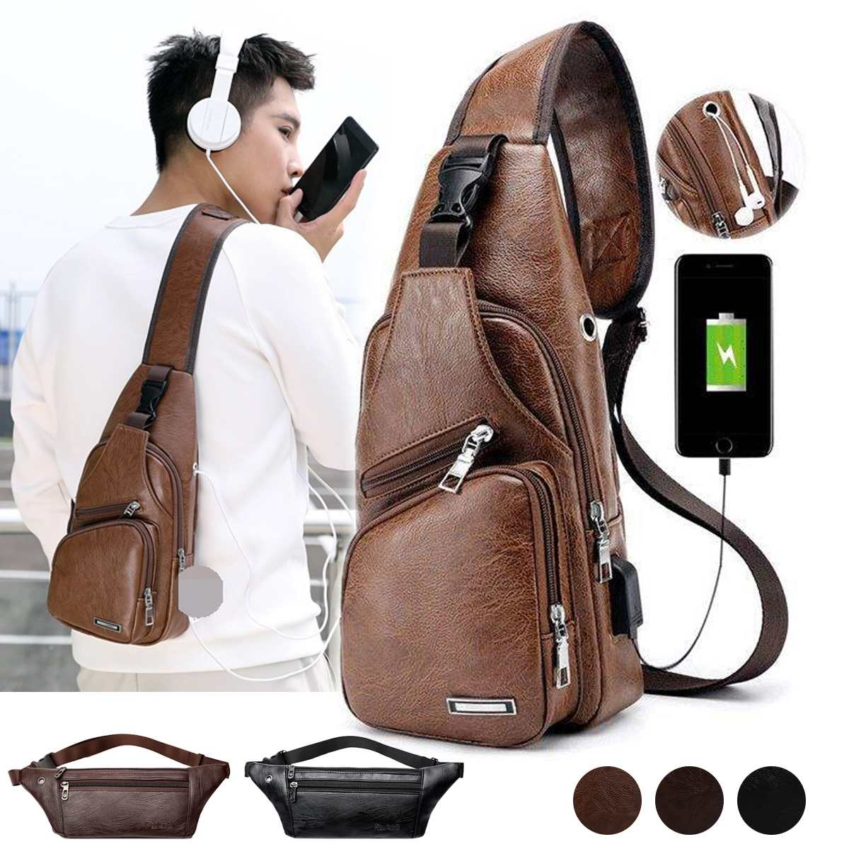 Men's Chest Bags Shoulder Messenger Bags PU Leather Waist Pack Casual Zipper Soft Fanny Pack Male Travel Sports Cross-body Bag