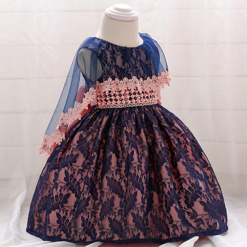 2018 Europe And America AliExpress New Style Infant Sleeveless Lace Cappa Tailing Puffy Princess A Year Of Age Birthday Dress
