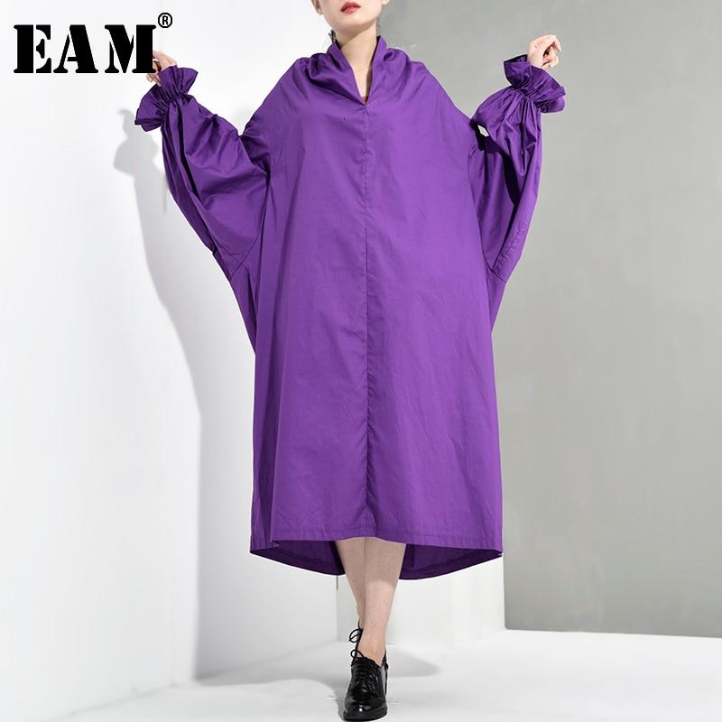 [EAM] 2020 New Spring Autumn V-Neck Long Lantern Sleeve Ruffles Split Joint Loose Long Big Size Dress Women Fashion Tide LG0291