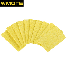 WMORE 10pcs/set soldering iron cleaner weldin solder tips 55*37mm cleaning yellow SPonge soldering station tip cleaner sponges free shipping brand new 1pcs wire with stand set welding soldering solder iron tip cleaner cleaning steel hot selling