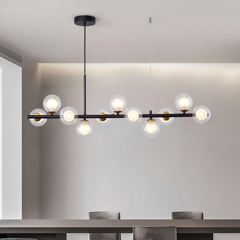 Подвесной светодиодный светильник в скандинавском стиле, современная лампа со стеклянными шариками для кухни, гостиной, столовой, дизайнер...