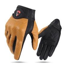 Мотоциклетные Перчатки из натуральной перфорированной кожи, винтажные ветрозащитные перчатки для мотокросса