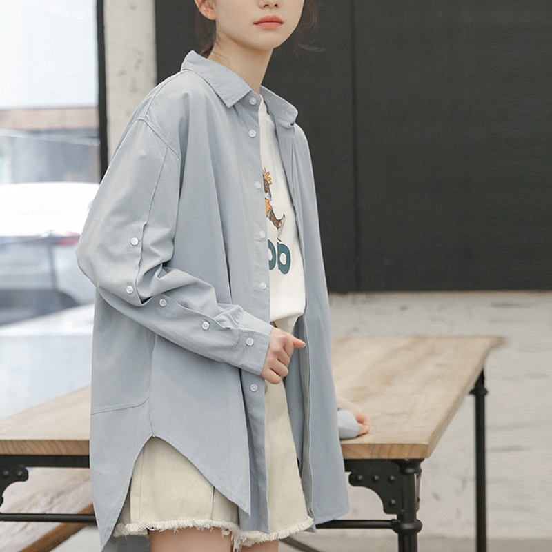 2020 Spring Long White Shirt Oversized Solid Women Lapel Collar Long Sleeve Women's Loose Cotton Tops Fashion Femme Blouse