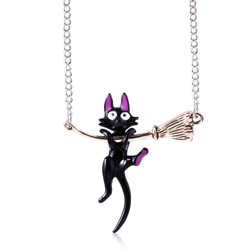 Miyazaki Hayao Kiki's Delivery Service Black cat Pendants Necklace Enamel fashion jewelry(China)