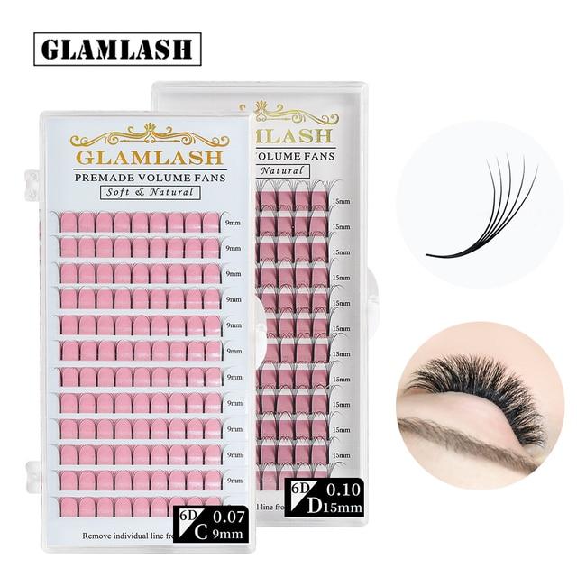 GLAMLASH 2D 3D 4D 5D 6D Long Stem False Lashes Premade Russian Volume Fans Faux Mink Premade Eyelash Extensions Makeup Cilios 1