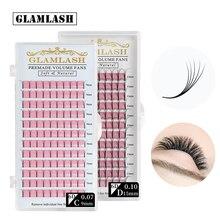 GLAMLASH 2D 3D 4D 5D 6D Langen Stiel Falsche Wimpern Vorgefertigten Russische Volumen Fans Faux Nerz Vorgefertigten Wimpern Extensions Make Up cilios