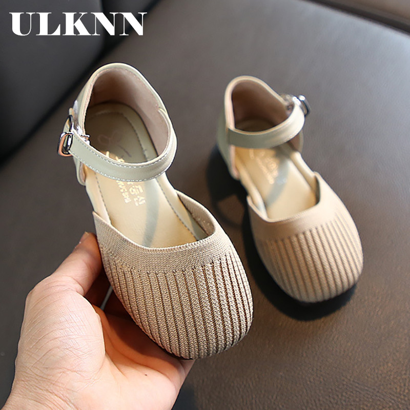 ULKNN Girls Spring 2020 New Korean Princess Shoes Fashion Shoes Casual Shoes Solid Color Soft Bottom Dance Shoes Half Sandals