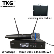 Microfone sem fio qlxd4 be87a, profissional uhf, para karaoke