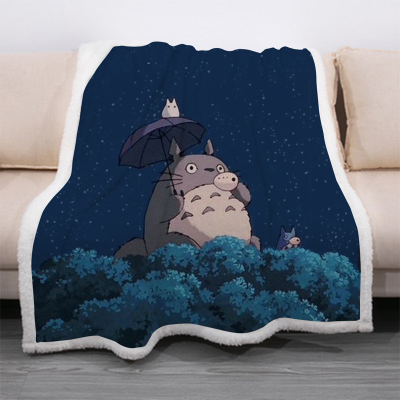 Cartoon Totoro Funny Character Blanket 3D Print Sherpa Blanket On Bed Home Textiles Dreamlike Style 12