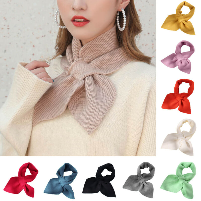 Women Girl Warm Elegant Small Bow Fishtail Wool Scarf And Wrap Solid Square Scarf Hair Tie Band