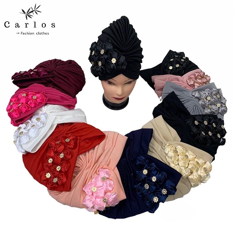 A Dozen Newest Elegant Turban Hats Women Cap Beaded For India Hat Scarfs Head Wrap Headband Girl Hair Accessories Lady Ca-20