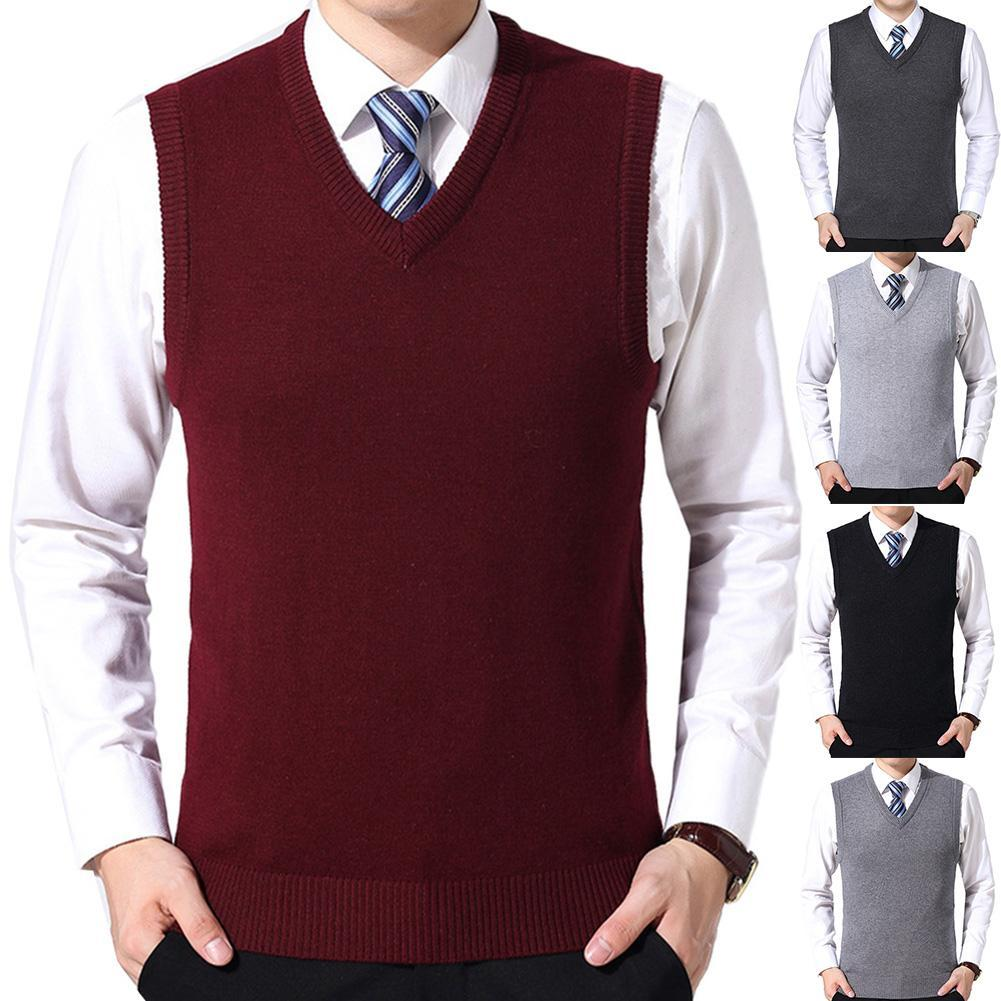 New Men Casual Winter Solid Color V Neck Sleeveless Knitted Woolen Plus Size Vest Sleeveless Pullover Men Slim Knitted Waistcoat