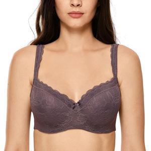 Image 1 - Womens Full Figure Lightly Padded Underwire Lace Balconette Bra Plus Size 34 44 B C DD E